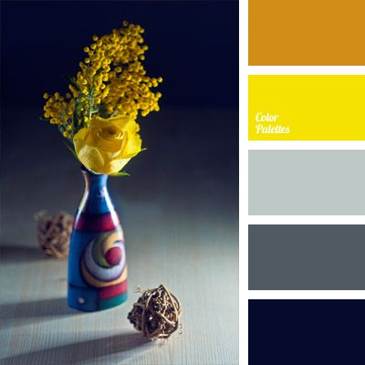 """A bright palette with strikingly """"distracting"""" intense yellow splendidly accentuated by gray and blue. These colors will be appropriate in summer manicures of beautiful ladies and beach clothes. Those who like bright color combinations in the interior can use this range for kitchens."""