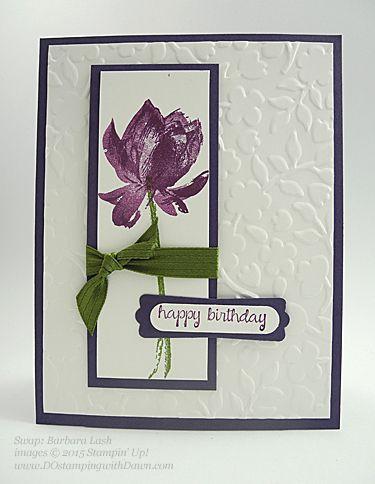 Sale-A-Bration Lotus Blossom swap card shared by Dawn Olchefske #dostamping #stampinup (Barbara Lash)