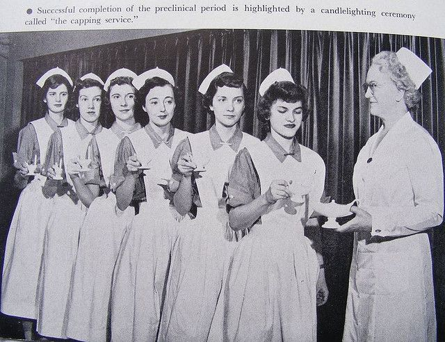 Nurse Capping Ceremony and Cande lighting Ceremony at Presbyterian Hospital School of Nursing, 1951.
