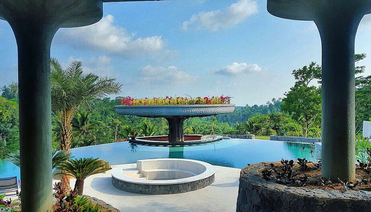 Pool and the Bar at Padma Ubud.  Designed by #MilesHumphreysArchitect