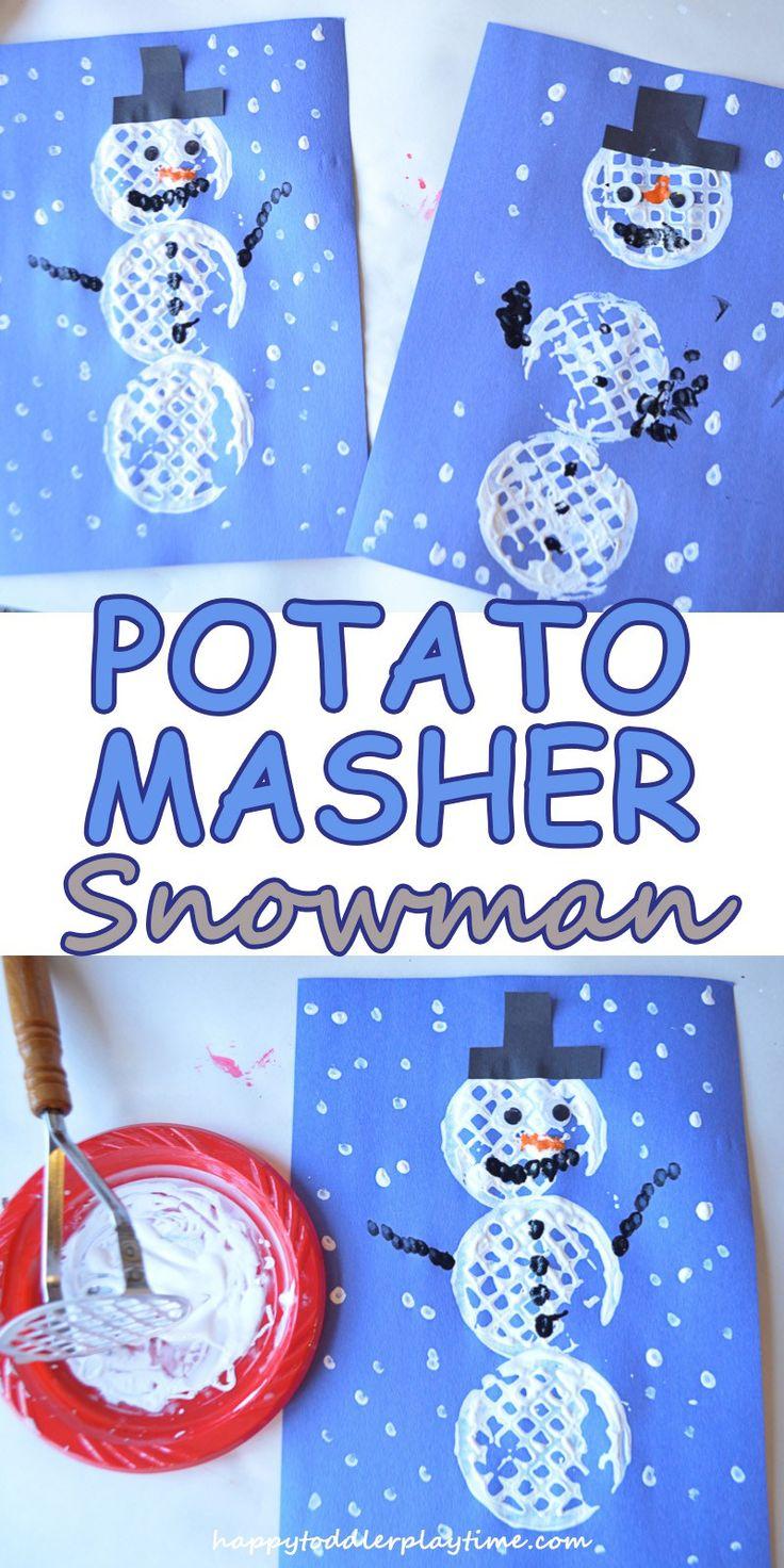 POTATO MASHER SNOWMAN – HAPPY TODDLER PLAYTIME