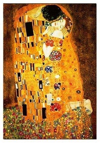 Dieser wunderschöne Kuss kann im Wiener Belvedere bewundert werden. Das wohl bekannteste Werk von Gistav Klimt entstand 1908 und wird der Epoche des Jugendstils zugeordnet.
