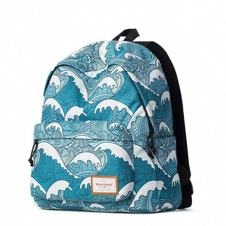 Popular Harajuku Graffiti Backpack For Teenage Girls Wave Painting Korean School Backpacks Laptop Computer Bagpack zaini scuola-in Backpacks from Luggage & Bags on Aliexpress.com | Alibaba Group #popularkoreanfashion