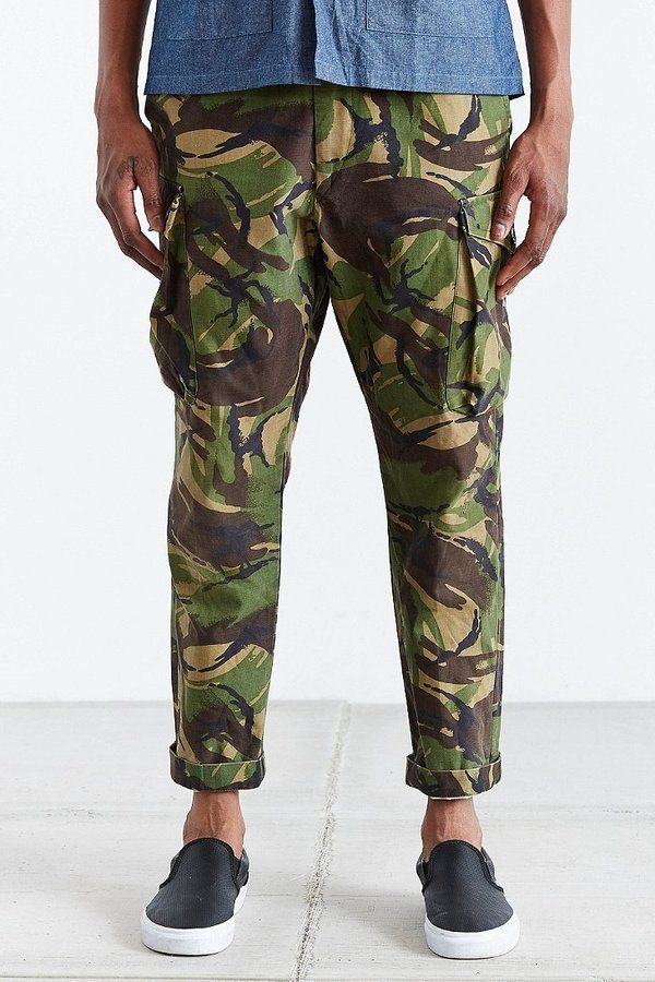 $39, Dark Green Camouflage Chinos: UO Urban Renewal Vintage British Dpm Pant. Sold by Urban Outfitters. Click for more info: https://lookastic.com/men/shop_items/257588/redirect