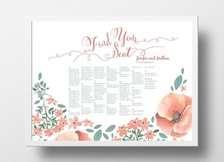 12 best DIY Wedding Seating Chart Poster Templates images on - wedding template