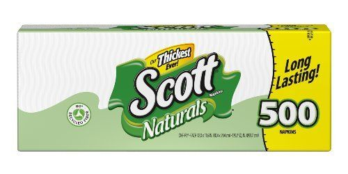 Scott Napkins, White, 500 Count by Scott. Save 20 Off!. $5.59. Has earned the green good housekeeping seal. Combines recycled fiber with the quality you need. Made from 80% recycled fiber. Packaging may vary from image shown. 1-Ply napkins. Scott Naturals Napkins bring a sensible blend of 80% recycled fibers to the kitchen table, the picnic table, and all the messy hands and faces in between. Scott Naturals products are a great way to take a green step without sacrificing the quality y...