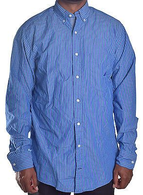 Nautica Men's Blue Stripe Button Up Shirt