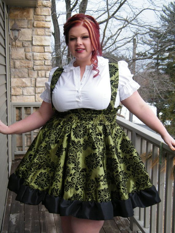 Plus Size Punk Lime Green Dress - Adult Halloween Costume - Gothic Jumper Cyberpunk-Custom to Order 3X-5X