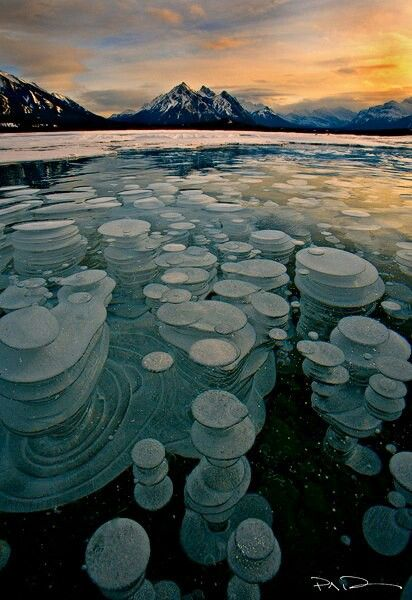 Air bubbles frozen under water. Latent heat: the heat added to or removed from a substance when it changes its state without changing its temperature, as when water freezes or vaporizes.