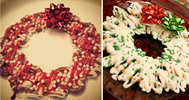 Chocolate Pretzel Wreath: Christmas Pretzels, Chocolates Pretzels, Candy Melted, Holidays Gifts, Fun Crafts, Candy Melts, Pretzels Wreaths, Chocolates Covers Pretzels, Chocolate Pretzels