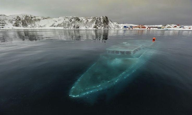 Sunken yacht in Antarctica