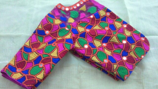Gujri work blouse with boat neck 91 9866583602 whatsapp no 7702919644
