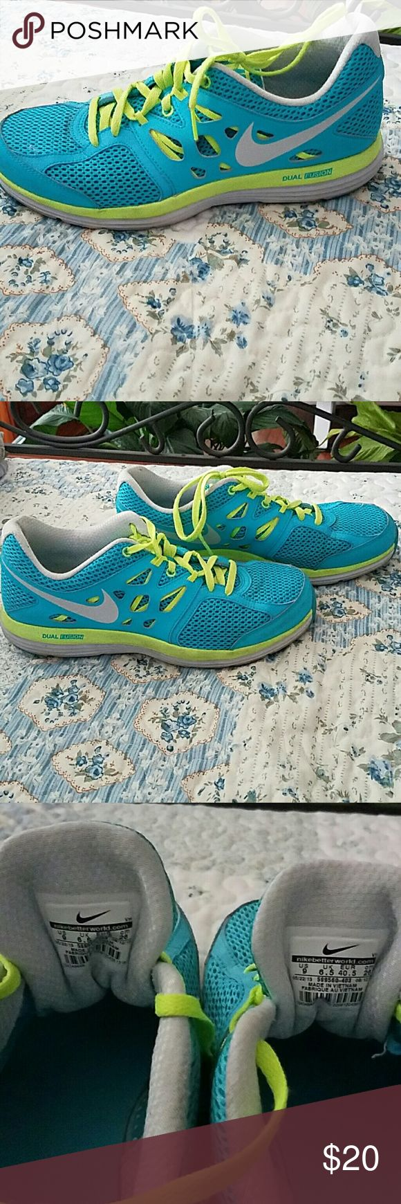 NIKE DUAL FUSION Aqua blue with neon green. Gently worn. No scuffs or damage. I LOVE shoes. Just trying to let some go to get more ;). Nike Shoes Athletic Shoes