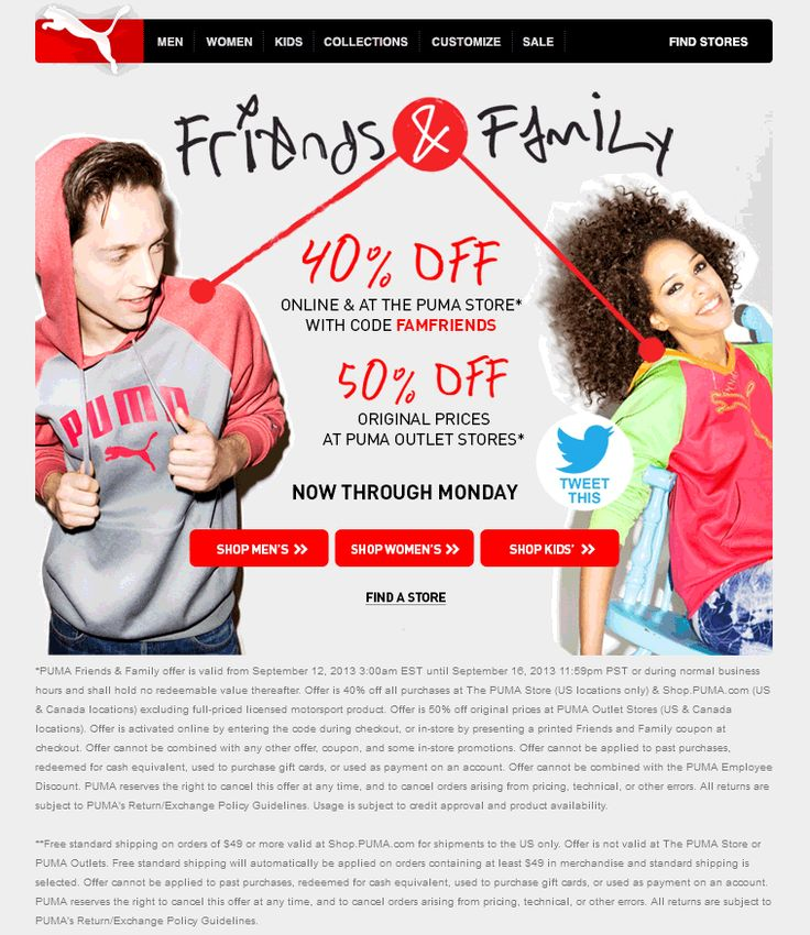 puma outlet store coupon 5qot  Pinned September 12th: Extra 50% off at #Puma Outlet locations, 40%