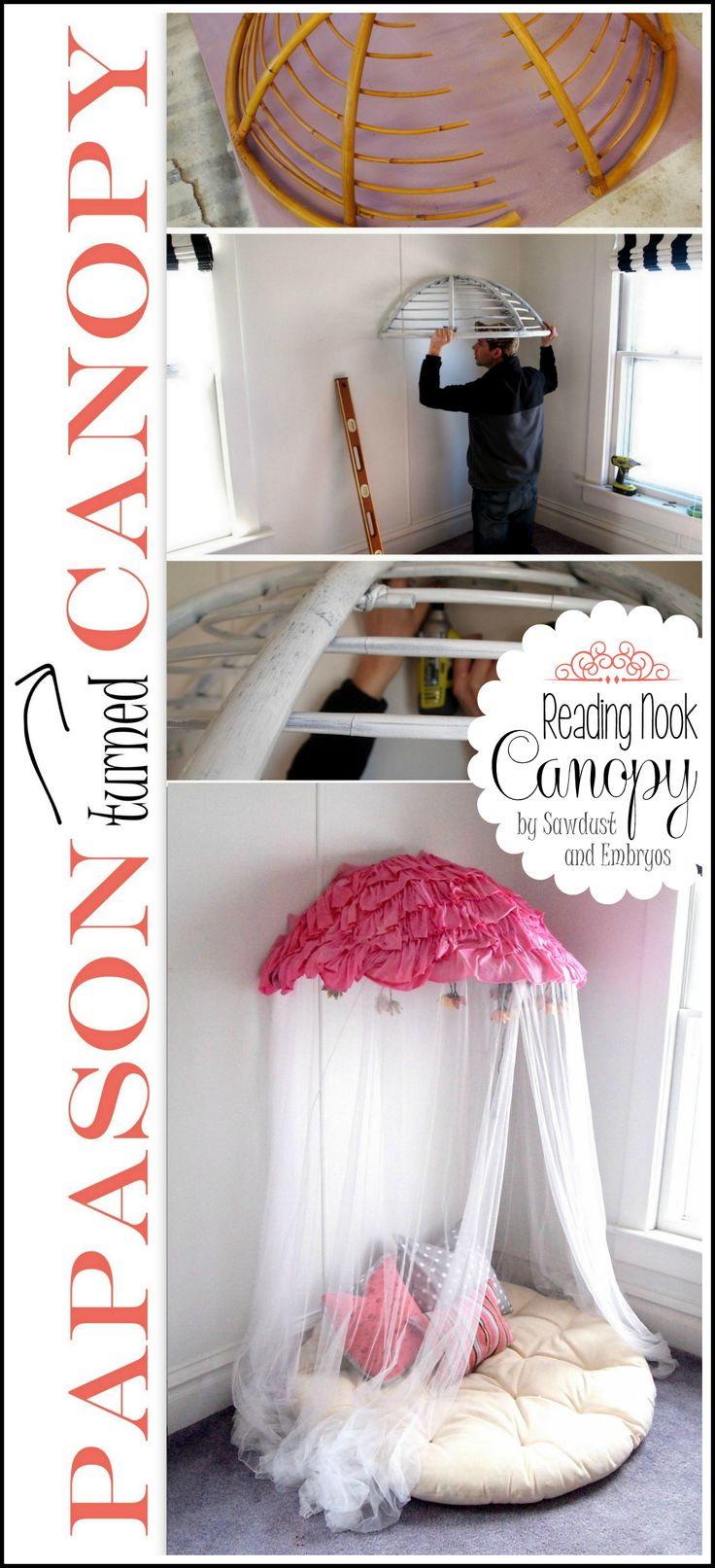 Reading Nook Canopy Tutorial - clever project shows how a papasan chair and cushion were repurposed into a cute tent/canopy that takes up very little space.