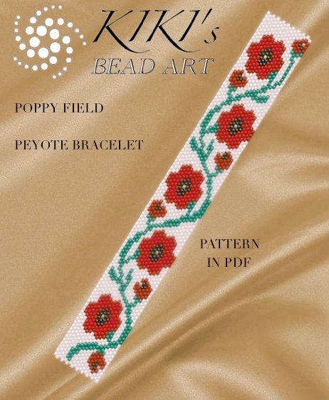 Pattern, peyote bracelet - Poppy field peyote bracelet cuff pattern in PDF instant download