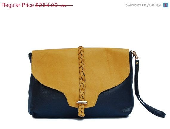 ON SALE black leather clutch with deep yellow by AssemblageUnique, $152.40
