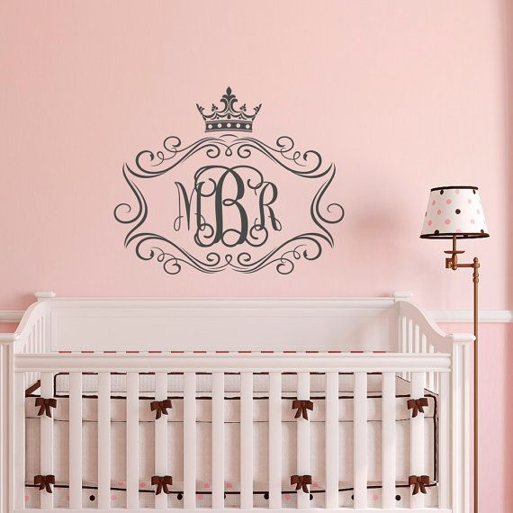 Personalized Girls Monogram Wall Decal  Monogram Girls Wall Decor  Wall  Decal Monogram Letters Little Princess Baby Bedroom Wall Art M074