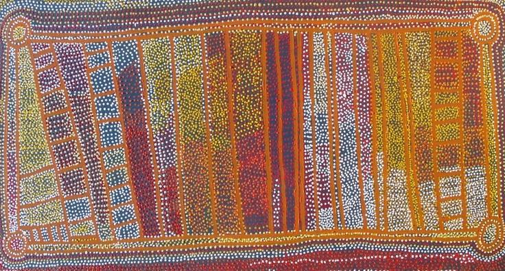 Shorty Robertson - Water Dreaming - 2007 - 183x91cm  IDAIA - International Development for Australian Indigenous Art