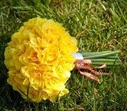 yellow bridesmaid bouquet...and you'll never guess what kind of super-affordable flower this is!