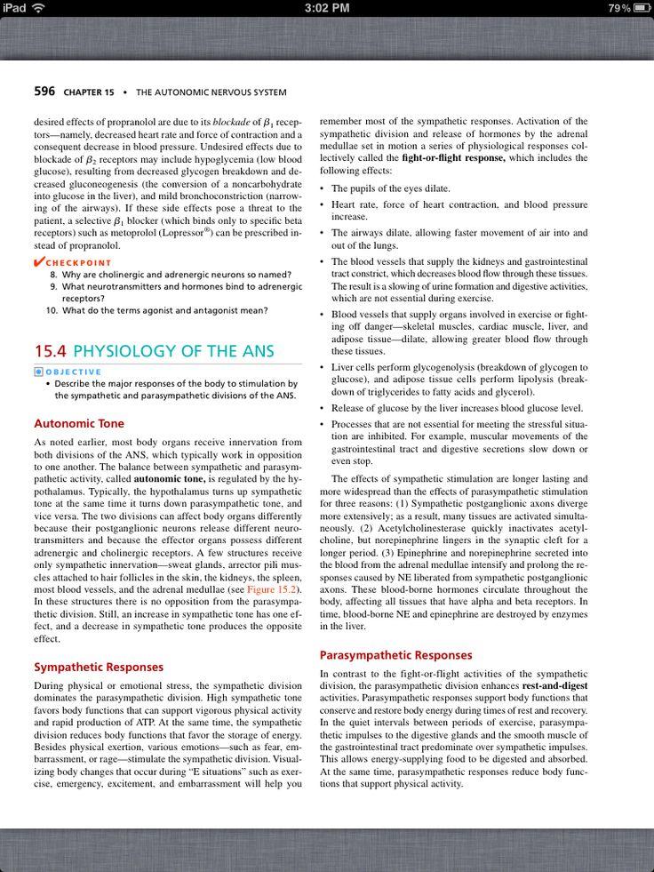 26 best Chapter 15, The Autonomic Nervous System images on Pinterest ...