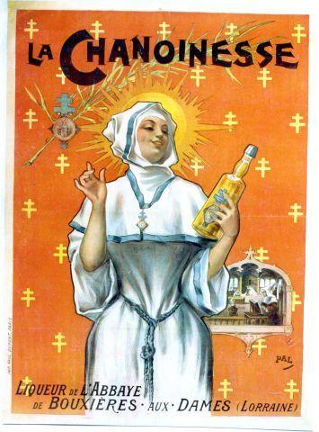 Pal - La Chanoinesse - liqueur de l'Abbaye de Bouxières-aux-Dames - circa 1898 vintage poster