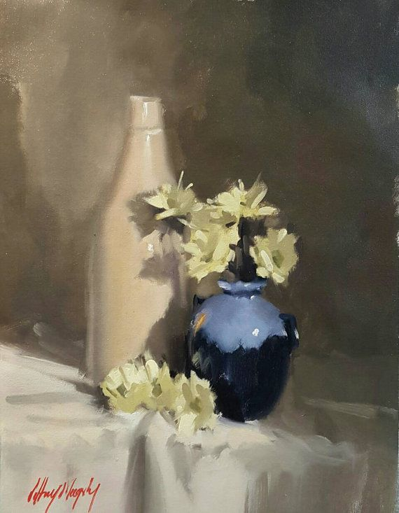 Check out this item in my Etsy shop https://www.etsy.com/au/listing/479820824/still-life-with-old-bottle-and-daisies