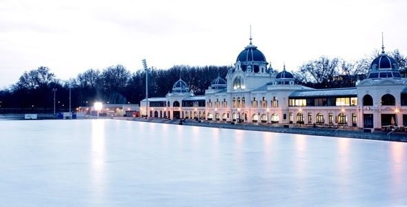 'Műjégpálya' in Budapest Largest outdoor ice skating rink in Europe