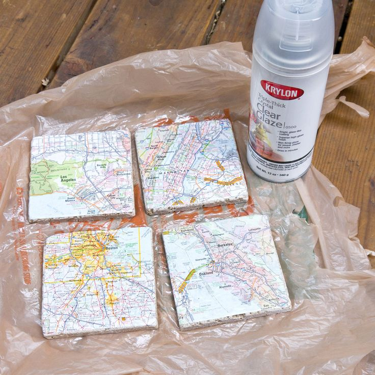 Upcycled Map Tile Coasters - works with scrapbook paper and photos too