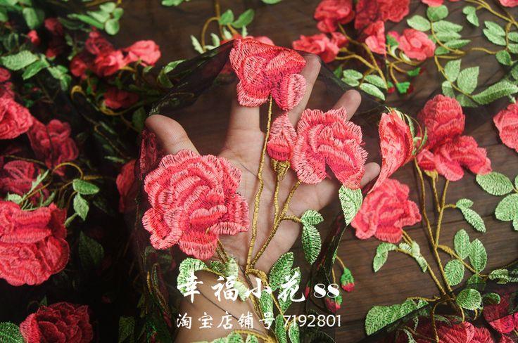 Красивые Китайские ветер кружевной ткани Hanfu ткань черная мягкая пряжа вышивка кружевная ткань с красным цветочным купить на AliExpress