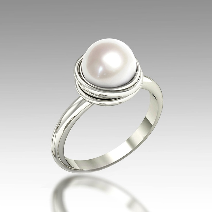 GOLDEN NEST 14K White Gold Pearl Ring, Pearl Engagement Ring, Unique engagement ring, Custom Italian fine jewelry. $480.00, via Etsy.