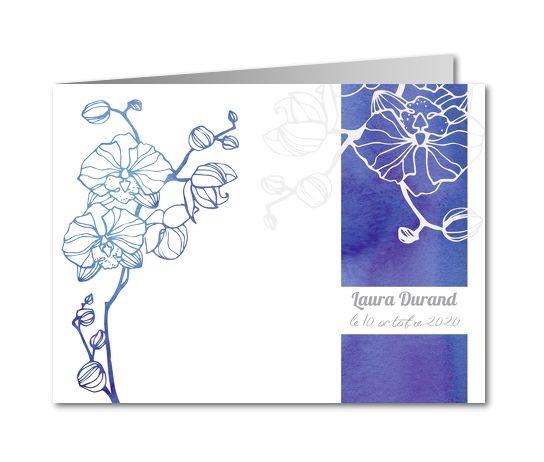 Carte de remerciement décès Orchidée couleur nuit (B-758)
