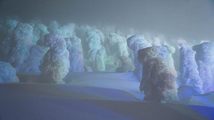 """https://flic.kr/p/iQtC3g   Monsters Parade   Mt.Zao Silver Frost Lighting 蔵王樹氷ライトアップ アイスモンスターのパレード  Happy New Year!! Wish you to have great 2014!! Please look carefully, it feel like truly beginning to walk... It was foggy night, so the monsters could not seen more, but I understood the naming of """"monster"""".  明けましておめでとうございます。 山形蔵王より、再びモンスターの写真です。パレードは勝手な命名です。 ずっと見ていると、本当に歩き出しそうな気がしませんか?  あいにく、霧のために遠くまで見渡す事はできませんでしたが、 モンスターの名前には妙に納得しました。 きっと今年も各地の写真を集めに奔走します。 良い新年を!  [16:9 trimming] Yama"""