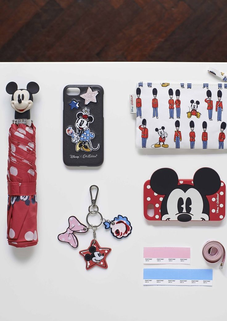 Mickey and Friends Button Spot Umbrella, Placement Iphone 7 Rubber Phone Case,  Mickey and Guards Zip Purse, Mickey and Minnie Little Patches iPhone 7 Phone Case, Embroidered Key Ring.  #DisneyXCathKidston