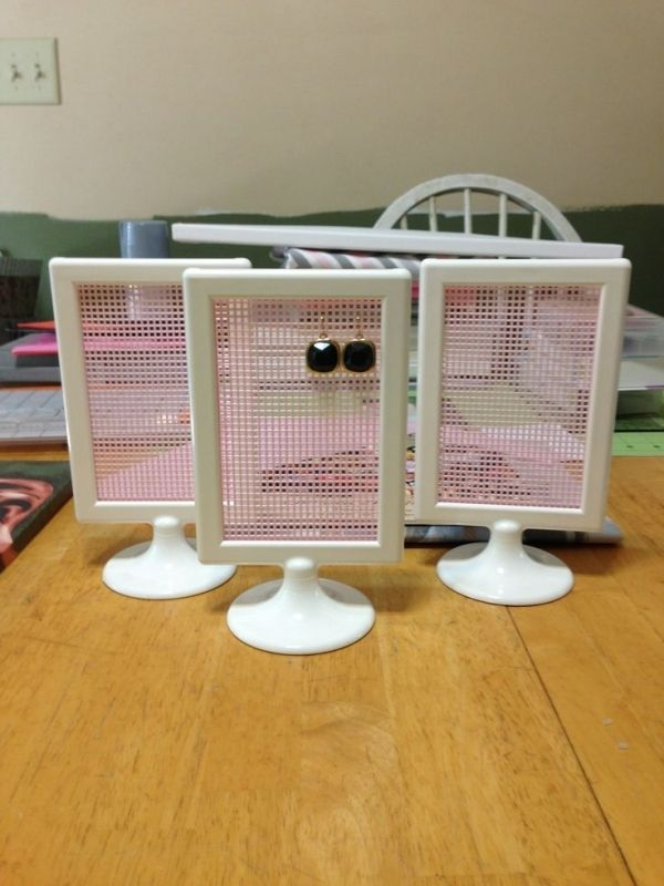 Earring Holder Craft webbing and the 99c frame makes this one of the cheapest Ikea hacks. The frame is TOLSBY Frame for 2 pictures, white $1.00
