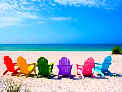 Summer fun pic, ok so no beach but colorful chairs with the girls kicked back, shades