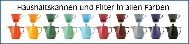 Melitta Filter und Haushaltskannen von Friesland Porzellan, Handgebrühter Kaffee, Bunte Kannen wie in 50er Jahre nur bunter :D