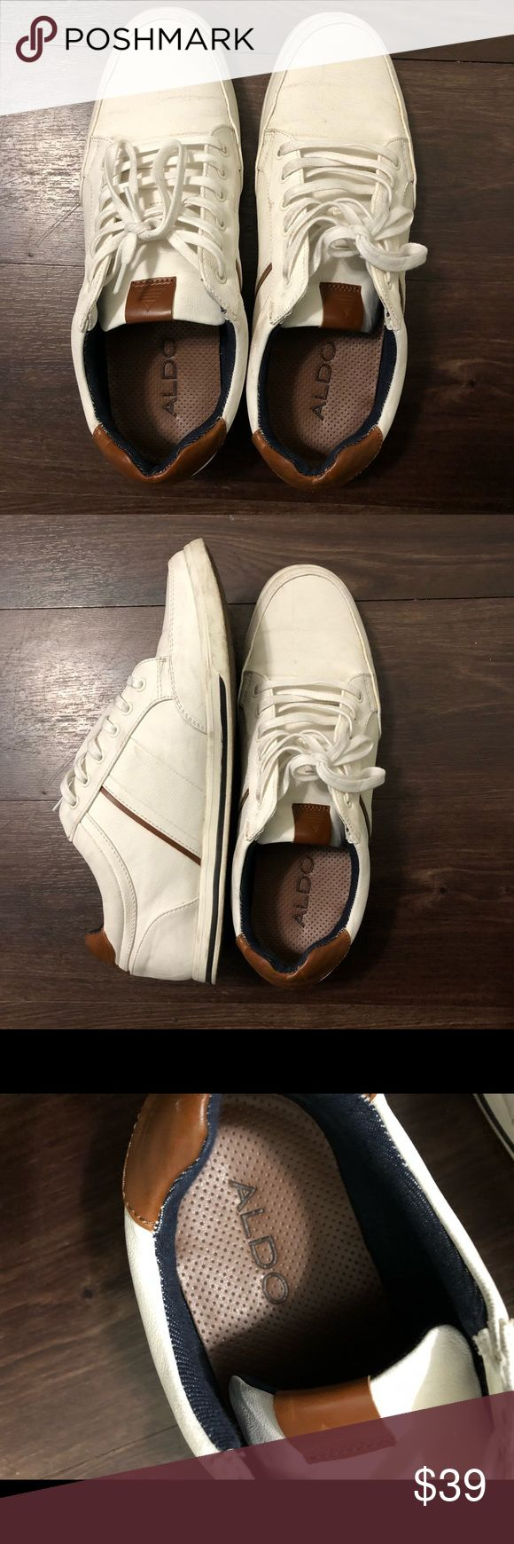 Aldo Men's Loafers - Size 9.5 *ALMOST NEW* *ALMOST NEW* ALDO Men's Shoes - Size 9.5 #wore once - almost new #box NOT included #authentic #white fabric+brown leather #good for daily  #will ship in 1-2 days #pls leave any questions via comment :D Aldo Shoes Loafers & Slip-Ons