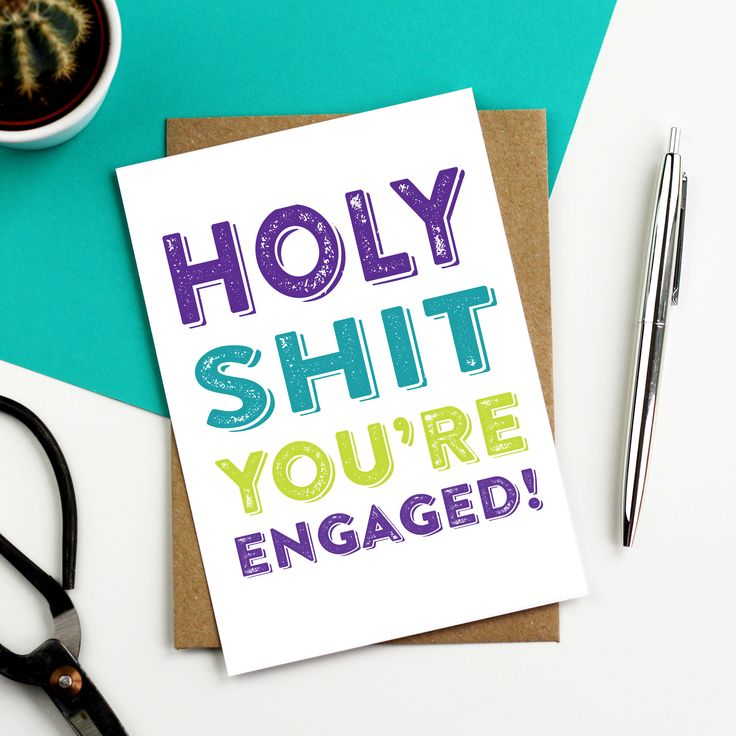 Holy Shit You're Engaged Typographic Inspired British Made Funny Engagement Greetings Card DYPW017 by doyoupunctuate on Etsy