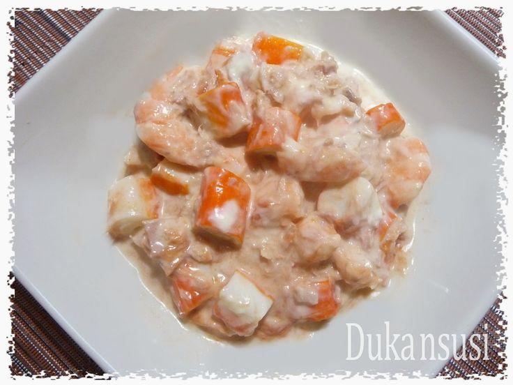 Recetas Dukan - Dukansusi: Coctel de marisco con salsa rosa Dukan ( Fase Ataque)