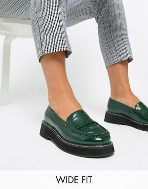 ee2de8b50a8 ASOS DESIGN Wide Fit Mastery chunky loafer flat shoes