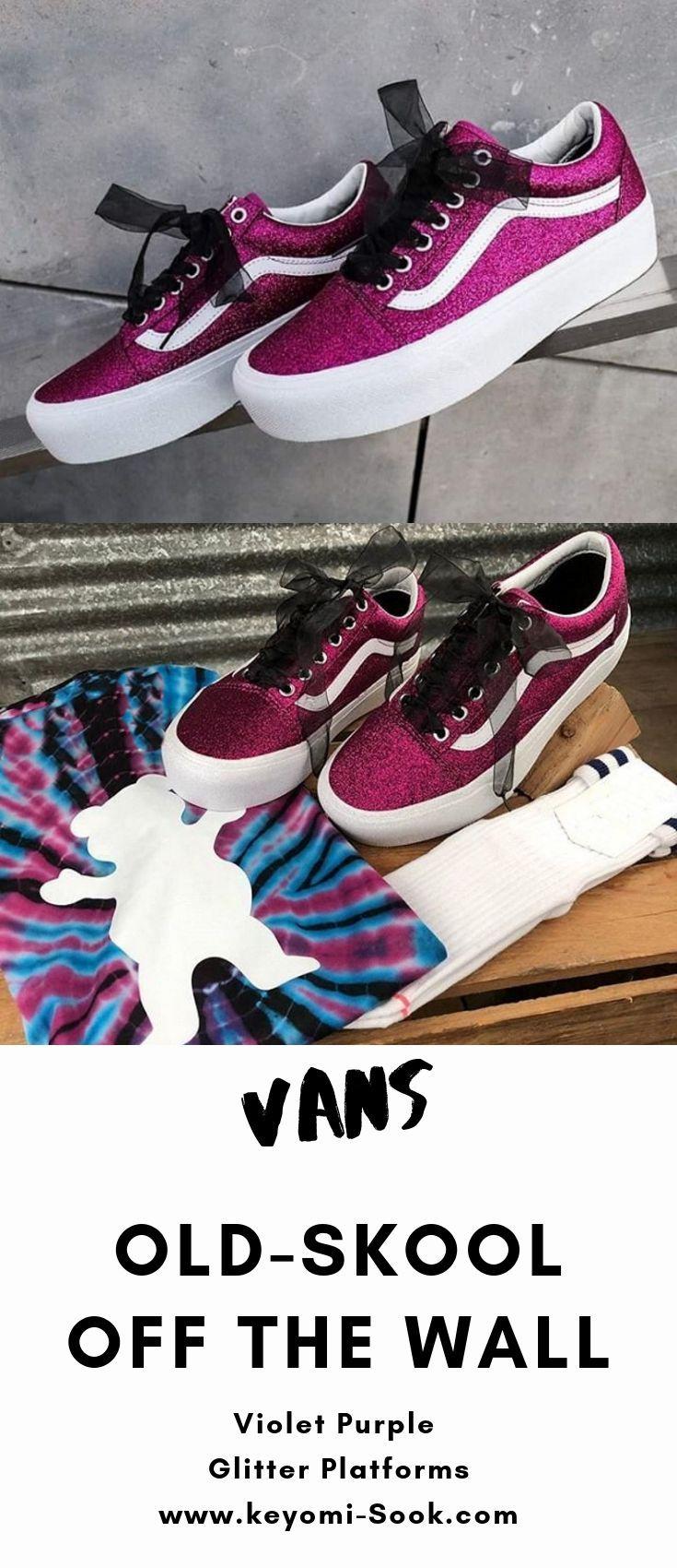 Vans Old Skool Off The Wall Violet Purple Glitter Platform Sneakers Women Shoes Vans Name Brand Platform Sneakers Tennis Shoe Vans Girl Glitter Platform Vans