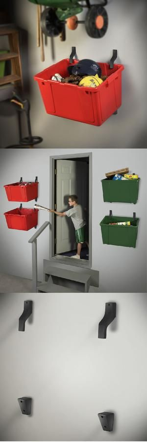 The Bin Hanger: your recycling bin organizer and storage solution! A Bin Hanger is easy to install in your garage or basement to make recycling and organizing, easy and convenient.  Use the Bin Hanger system to organize and store sporting equipment, toys, shoes, boots, and more! Price: $12.95.