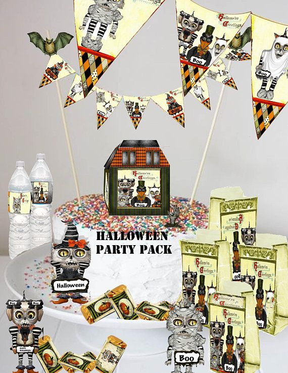 Halloween party pack of cake and party decorations and clip art to