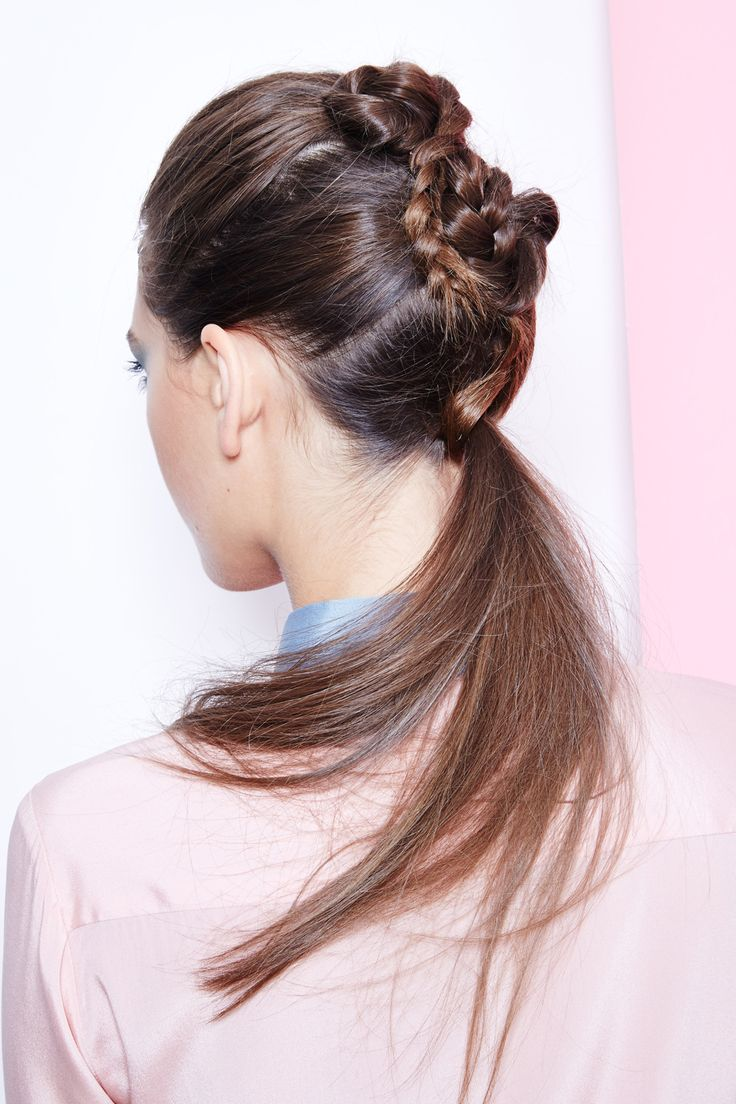"Ponytail Upgrade: 5 DIYs You Need To Try  #refinery29  http://www.refinery29.com/diy-ponytail-hairstyles#slide8  ""The key here is not to over-think these steps,"" Stone says. ""Just braid, wrap them once, and pin. The messier, the better."""