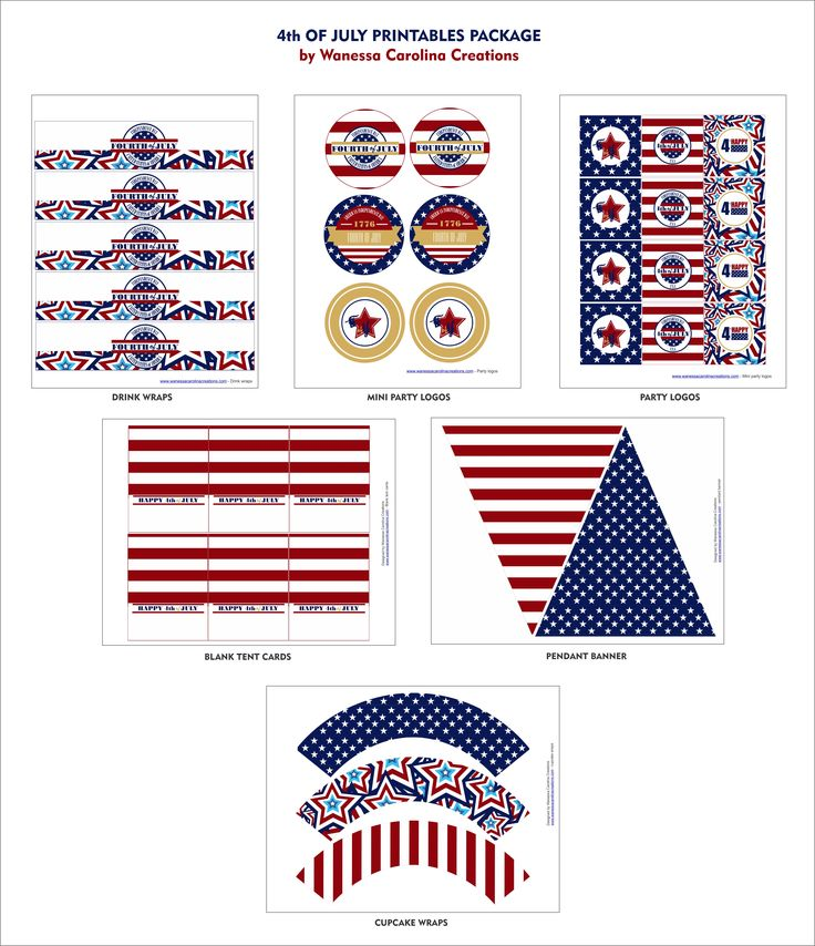free 4th July printable-decorations...make a few projests quick and easy.