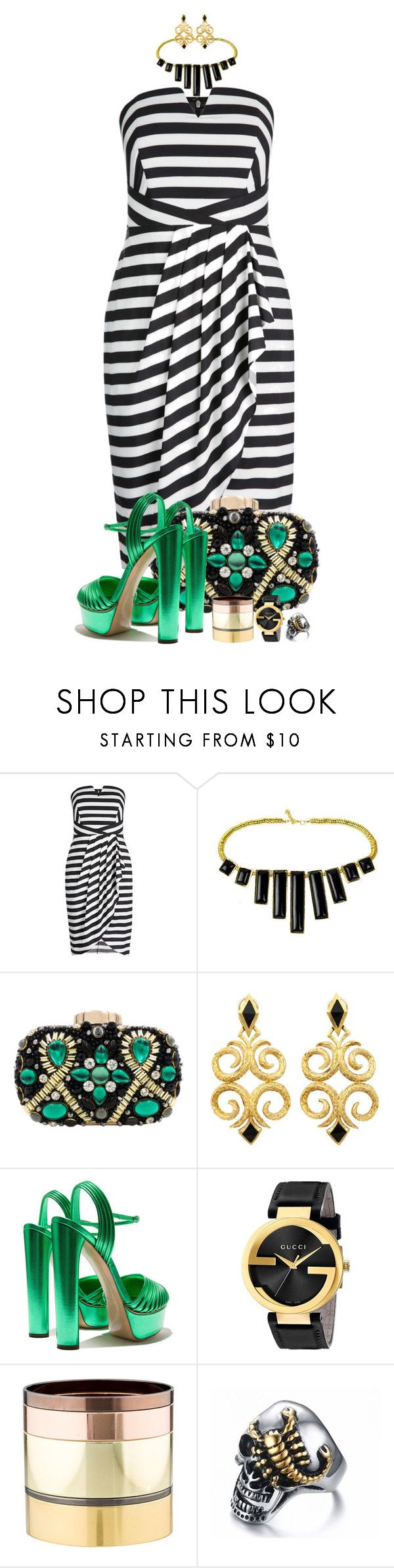"""emerald feet"" by fantasia-fashion ❤ liked on Polyvore featuring Gucci, Gemma Redux, stripes, Clutch, watch, platform and plussize"