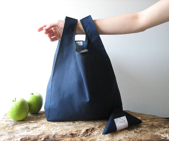 tote bag handmade in unisex blue cotton / lunch bag for men and for woman / minimal shopping bag united color / capacious grocery bag