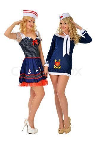 Two beautiful women in carnival sexy costumes of seaman.