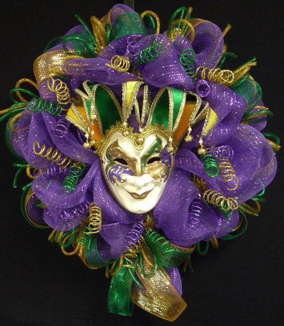 Mardi Gras Jester Mask Wreath Mardi Gras Beads by wreathsbyrobin, $95.00